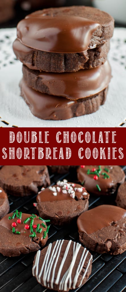 Double Chocolate Shortbread Cookies decorated for Christmas collage picture