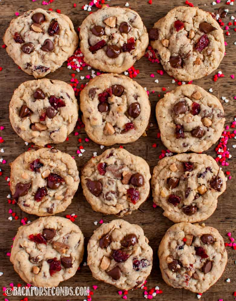 Cranberry Toffee Cranberry Cookies with Valentine's Day heart sprinkles