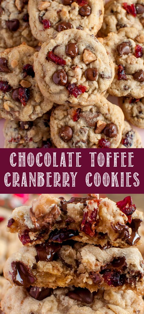 Cranberry Toffee Cranberry Cookies collage photo