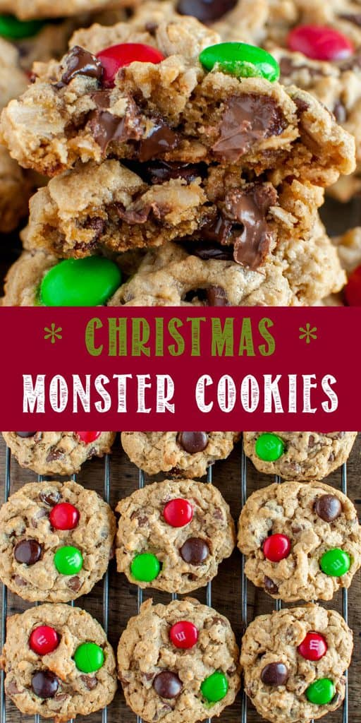 Best Christmas Monster Cookies Recipe collage photo