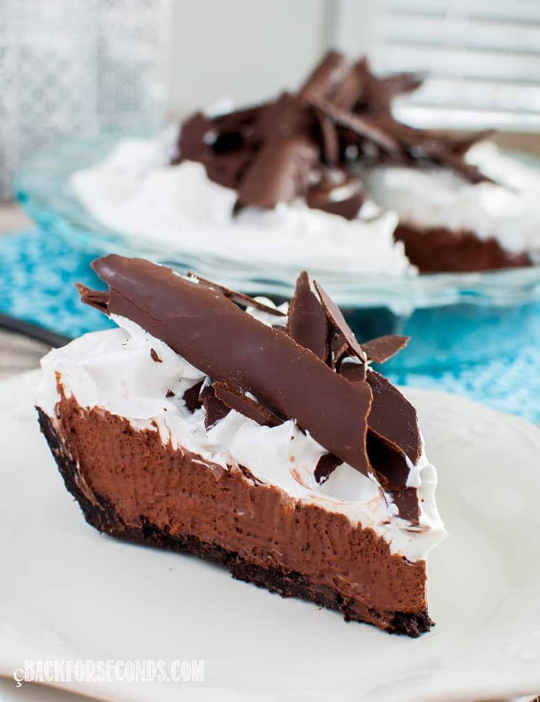 French silk pie slice on white plate