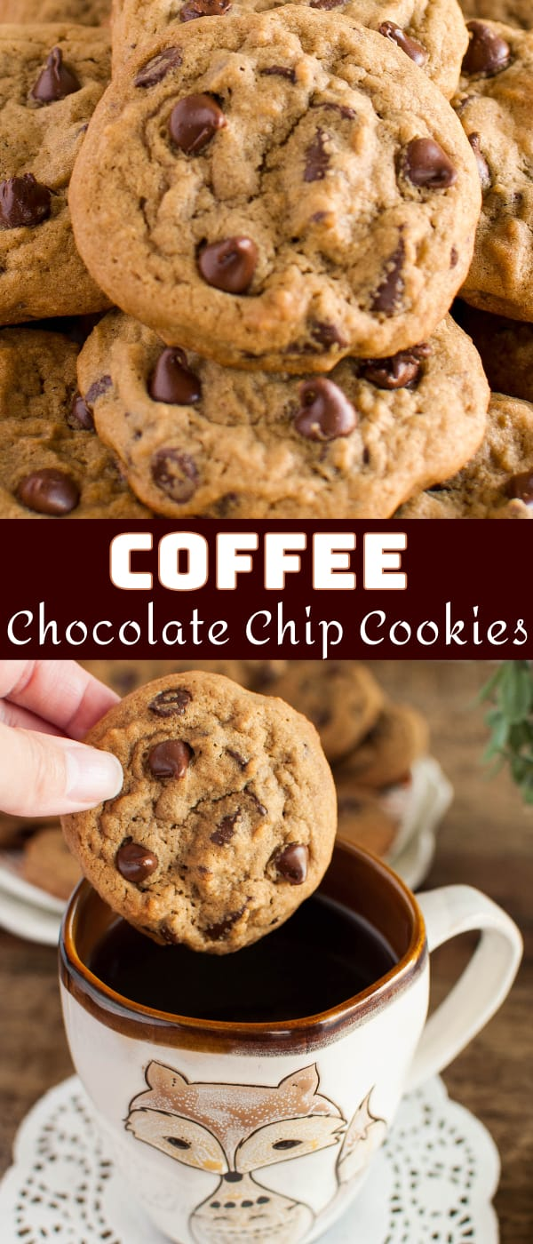 Coffee Chocolate Chip Cookies Recipe Collage