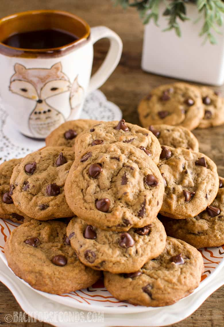 Coffee Chocolate Chip Cookies on a plate