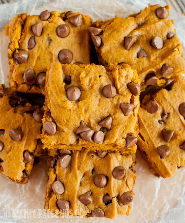 overhead shot of Chocolate Chip Pumpkin Bars